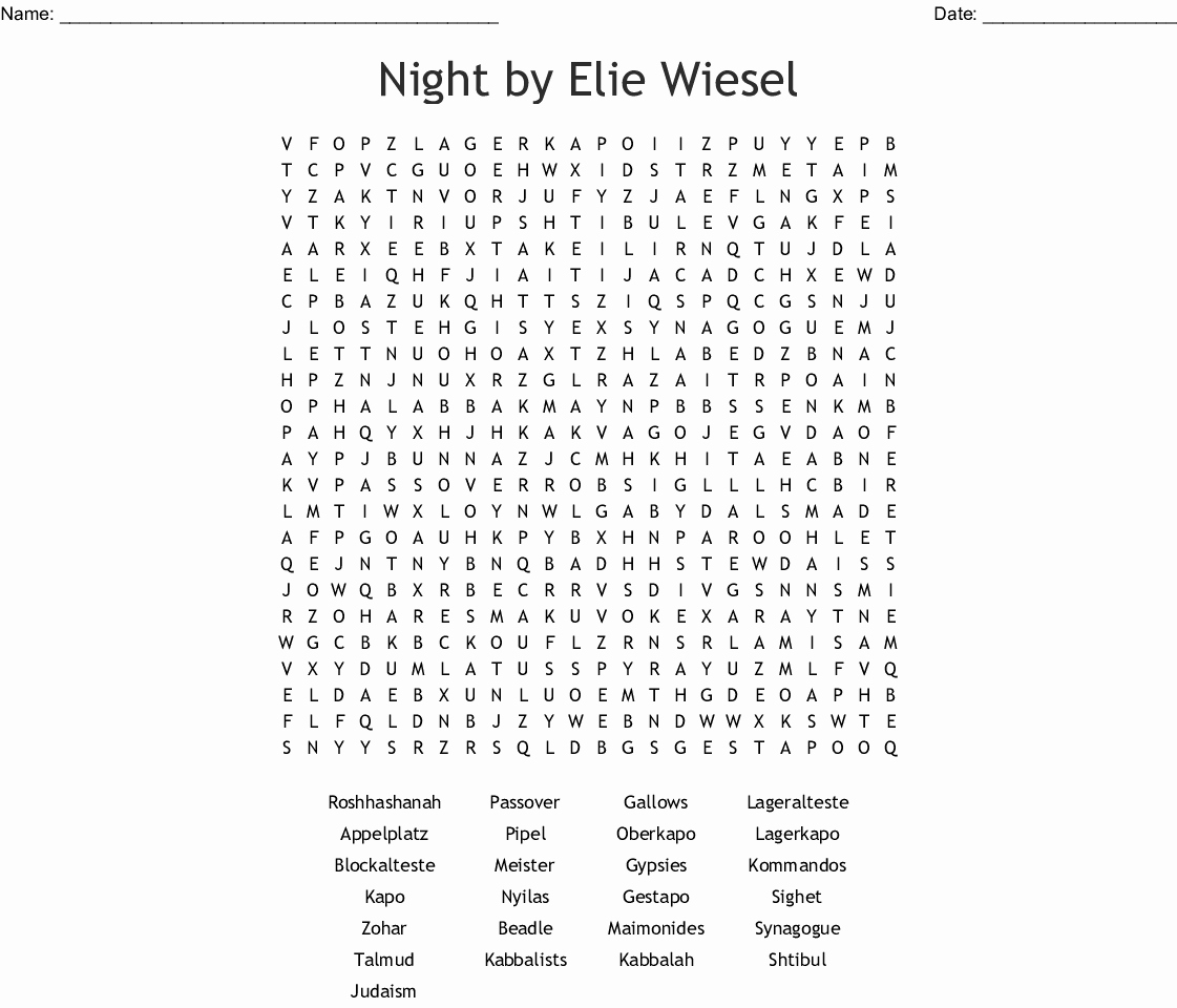 Night Elie Wiesel Worksheet Answers Unique Night by Elie Wiesel Worksheet