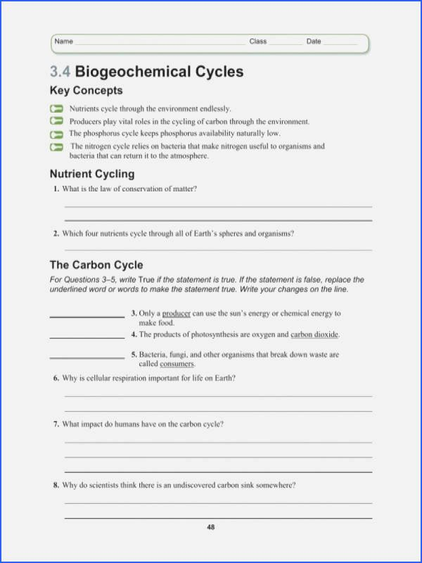 Nitrogen Cycle Worksheet Answer Key Inspirational Biogeochemical Cycles Webquest Answer Key