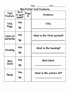 Nonfiction Text Features Worksheet Fresh 1000 Images About Reading Non Fiction Text Features On