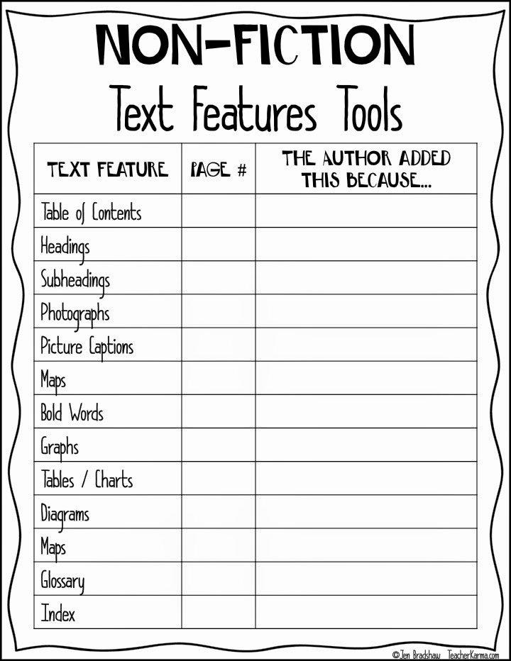 Nonfiction Text Features Worksheet Inspirational 15 Best Of Fiction and Nonfiction Worksheets 3rd