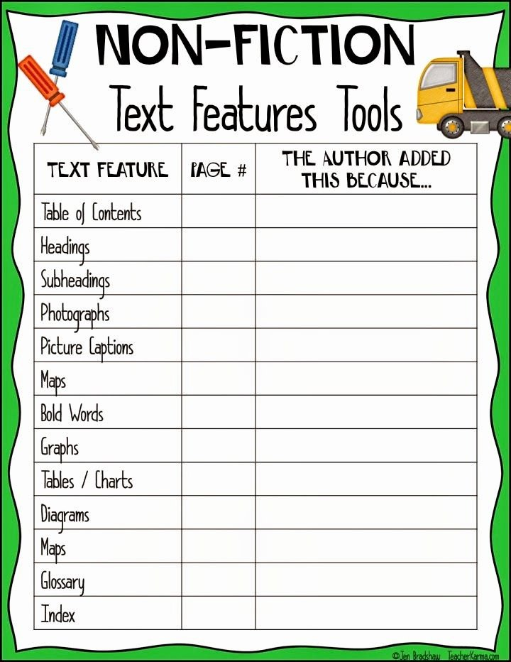 Nonfiction Text Features Worksheet Inspirational Non Fiction Success tools Of the Trade Freebie