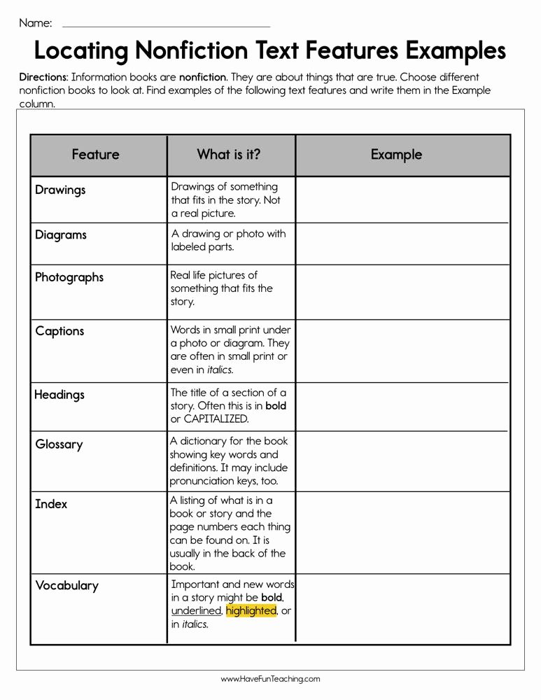 Nonfiction Text Features Worksheet Lovely Second Grade Text Features Resources