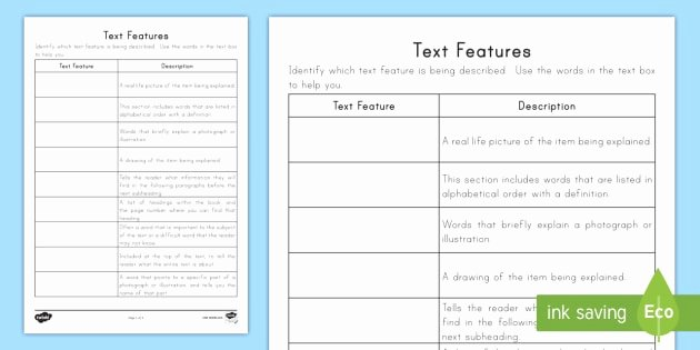 Nonfiction Text Features Worksheet Lovely Text Features Worksheet Activity Sheet Nonfiction Caption