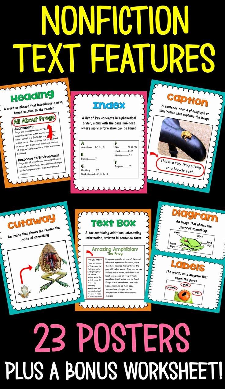 Nonfiction Text Features Worksheet Unique Nonfiction Text Features 23 Posters and A Matching