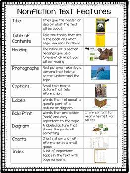 Nonfiction Text Features Worksheet Unique Nonfiction Text Features Chart by Elementary Ever after