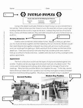 Nonfiction Text Features Worksheet Unique Using Text Features Worksheet Pueblos by Jessica Rivera