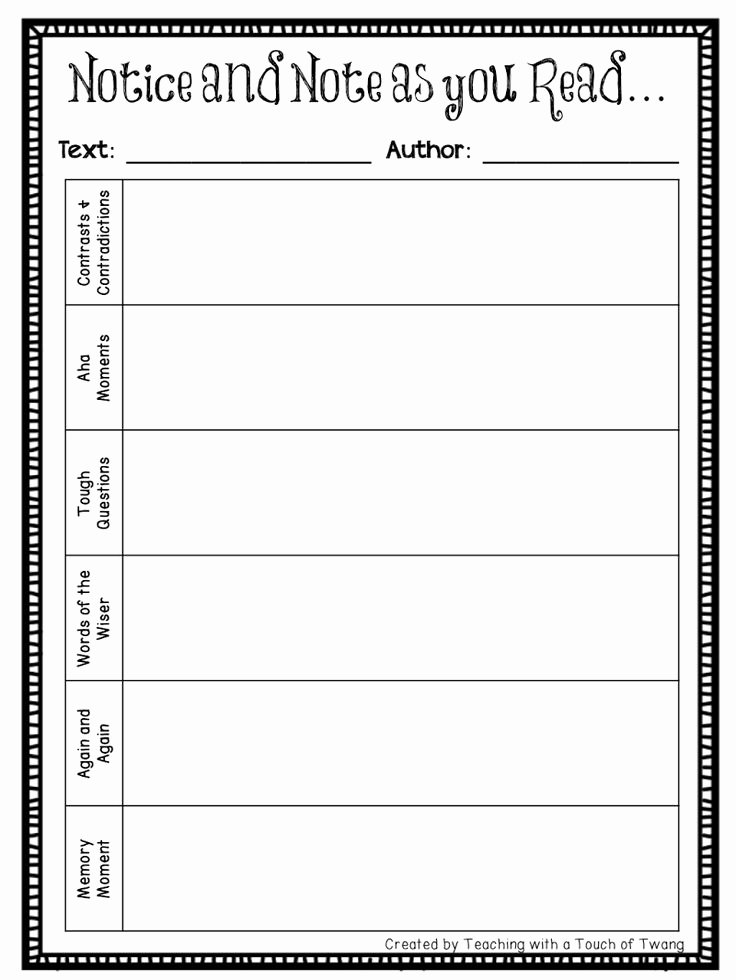 Notice and Note Signposts Worksheet Beautiful 1000 Images About Education On Pinterest