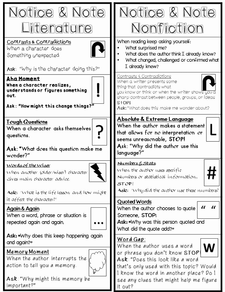 Notice and Note Signposts Worksheet Beautiful Best Ccss Notice and Note Close Reading