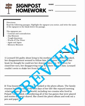 Notice and Note Signposts Worksheet Beautiful Notice and Note Fiction Signposts assignment by Holly
