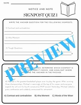 Notice and Note Signposts Worksheet Fresh Notice and Note Fiction Signposts assignments by Holly