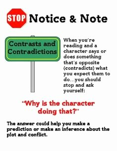 Notice and Note Signposts Worksheet Lovely Contrast and Contradictions – Ms Smith S Classes