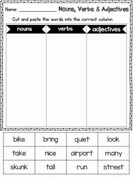 Noun Verb Adjective Worksheet Awesome Grammar Worksheets Noun Verb Adjective sort by Learning