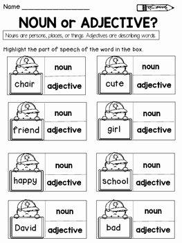 Noun Verb Adjective Worksheet Awesome Parts Of Speech Nouns Verbs Pronouns Adjectives and
