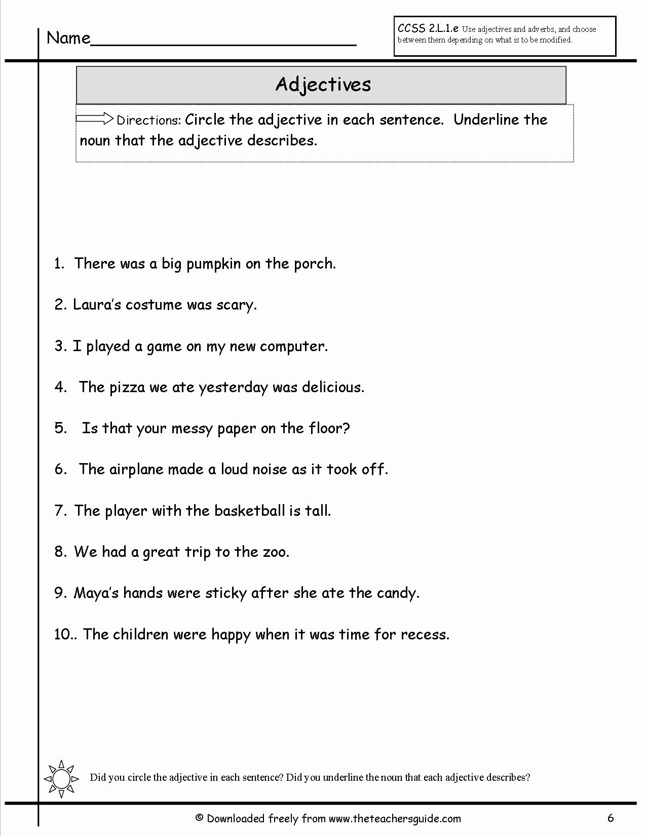 Noun Verb Adjective Worksheet Beautiful Adjectives Worksheets From the Teacher S Guide