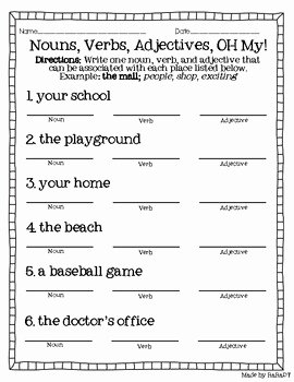 Noun Verb Adjective Worksheet Beautiful Nouns Verbs & Adjectives Freebie by Raradt