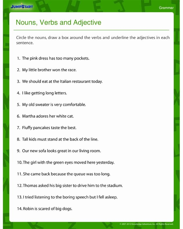 Noun Verb Adjective Worksheet Best Of Nouns Verbs and Adjectives – Free Grammar Worksheet for