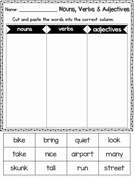 Noun Verb Adjective Worksheet Elegant Grammar Worksheets Noun Verb Adjective sort by Learning