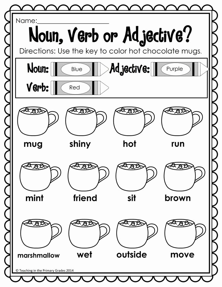 Noun Verb Adjective Worksheet Fresh Winter Math and Literacy Printables No Prep