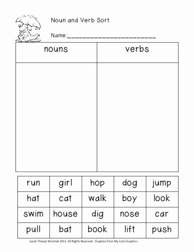 Noun Verb Adjective Worksheet Inspirational Grade 1 Sample Worksheets On Nouns Verbs and Adjectives