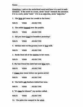 Noun Verb Adjective Worksheet Inspirational Nouns Verbs Adjectives Practice Homework Test Quiz