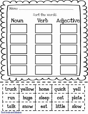 Noun Verb Adjective Worksheet Lovely Free Noun Verb Adjective Printable