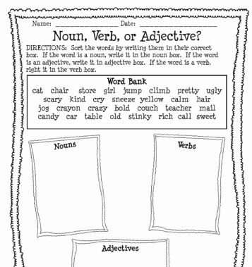 Noun Verb Adjective Worksheet Lovely Noun Verb or Adjective Worksheet Printable Worksheet
