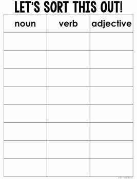 Noun Verb Adjective Worksheet Unique Noun Verb and Adjective sort Freebie by Jamie Rector