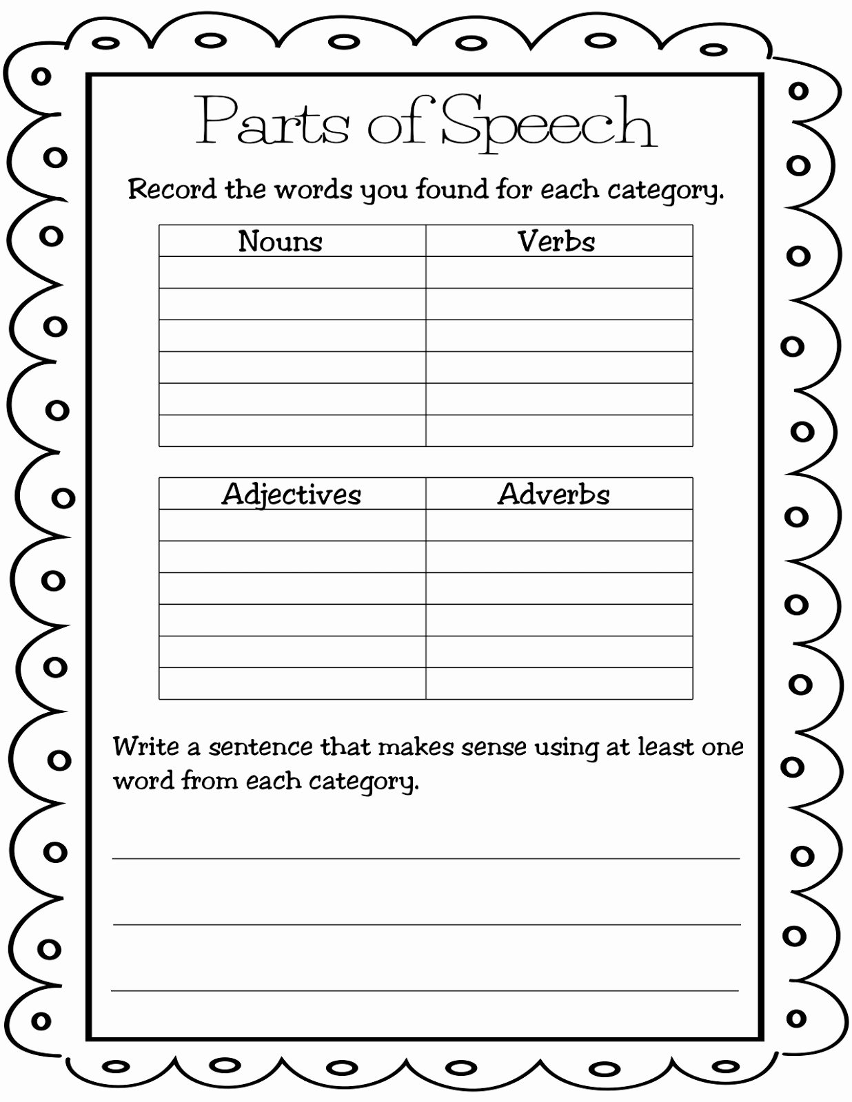 Noun Verb Adjective Worksheet Unique Teaching Mrs T Parts Of Speech Lessons