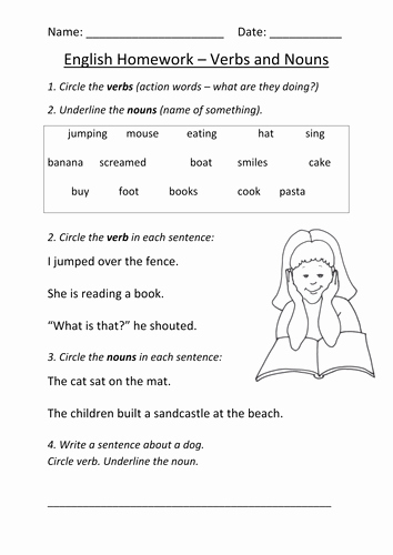 Nouns and Verbs Worksheet Awesome Nouns and Verbs Worksheet Ks1 by Mignonmiller Teaching