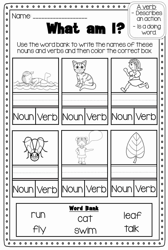 Nouns and Verbs Worksheet Awesome Verbs Printable Worksheet Pack Kindergarten First Second
