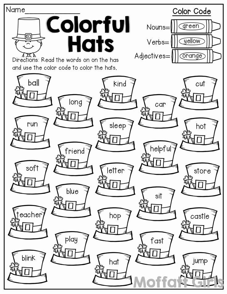 Nouns and Verbs Worksheet Beautiful Colorful Hats Color by the Code Nouns Verbs and