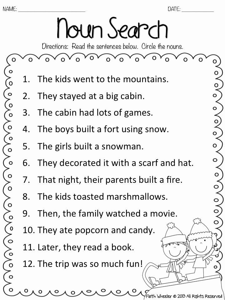 Nouns and Verbs Worksheet Best Of Snow Kids Noun Search Freebie