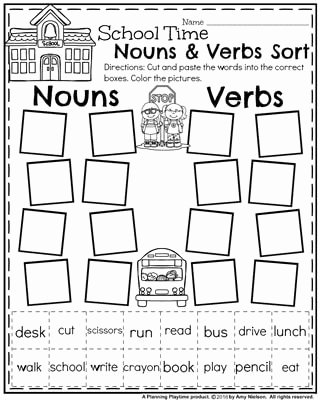 Nouns and Verbs Worksheet Elegant Back to School First Grade Worksheets