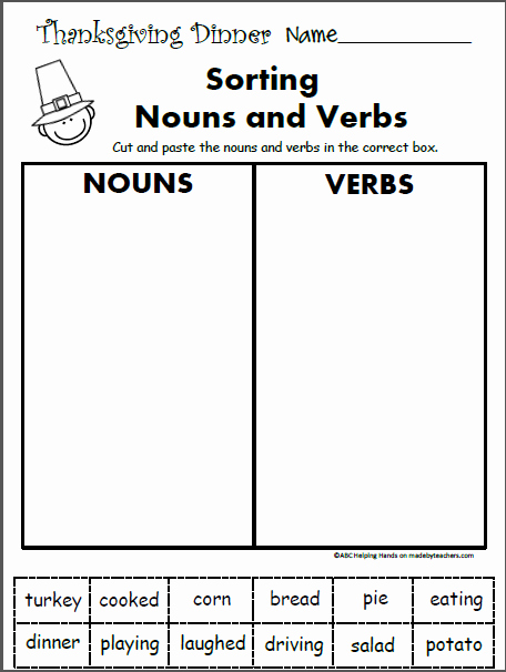 Nouns and Verbs Worksheet Fresh Free 1st Grade Worksheets for November Language Arts