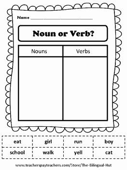Nouns and Verbs Worksheet Fresh Noun or Verb sort Cut and Paste Worksheet Free by the