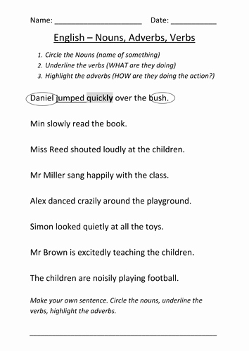 Nouns and Verbs Worksheet Lovely Nouns and Verbs Worksheet Ks1 by Mignonmiller Uk