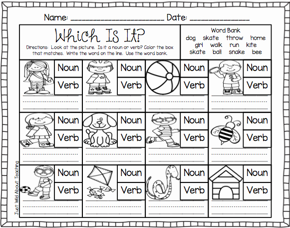 Nouns and Verbs Worksheet Luxury Just Wild About Teaching Teach Me Nouns and Verbs