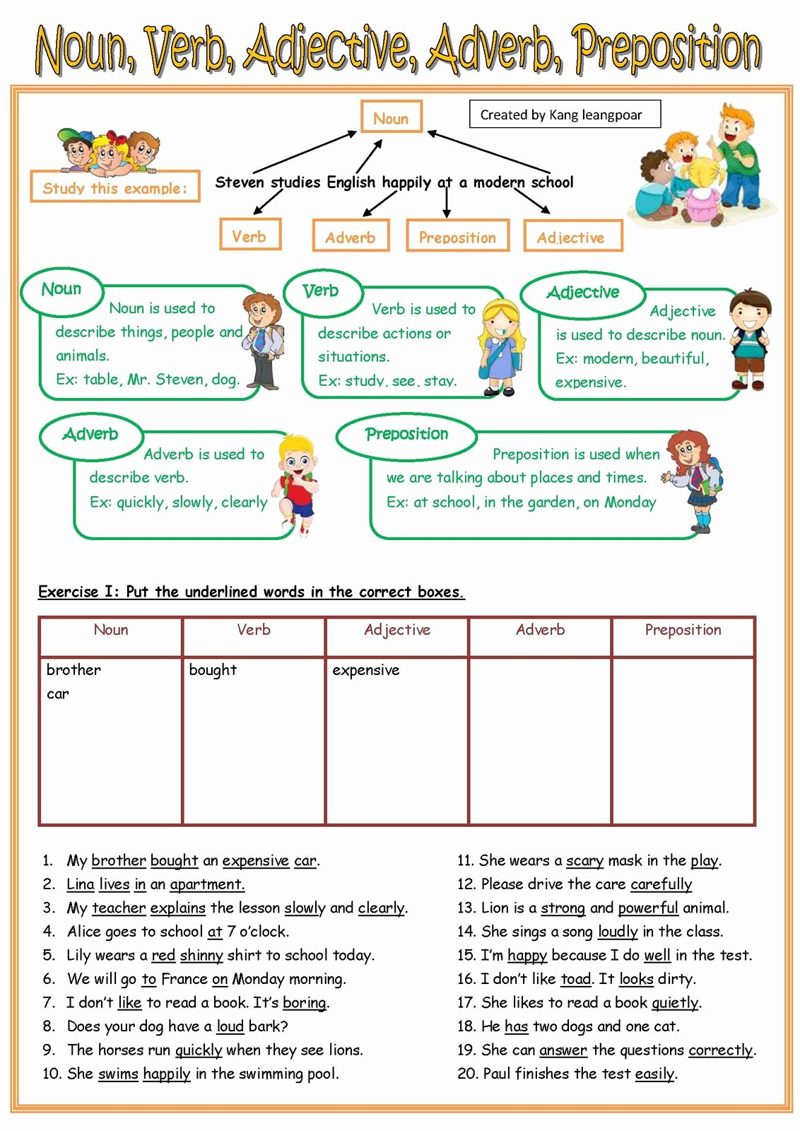 Nouns and Verbs Worksheet New Kang Leangpoar កាំង លាងប៉ោ My Esl Printable Worksheet