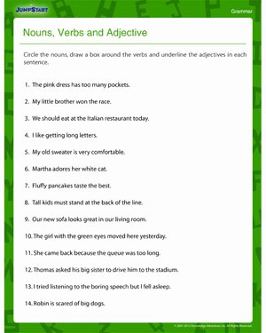 Nouns and Verbs Worksheet New Nouns Verbs & Adjectives – Fun & Printable 4th Grade