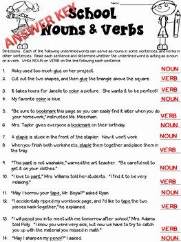 Nouns and Verbs Worksheet Unique Nouns & Verbs Worksheet Freebie Multiple Meaning Words