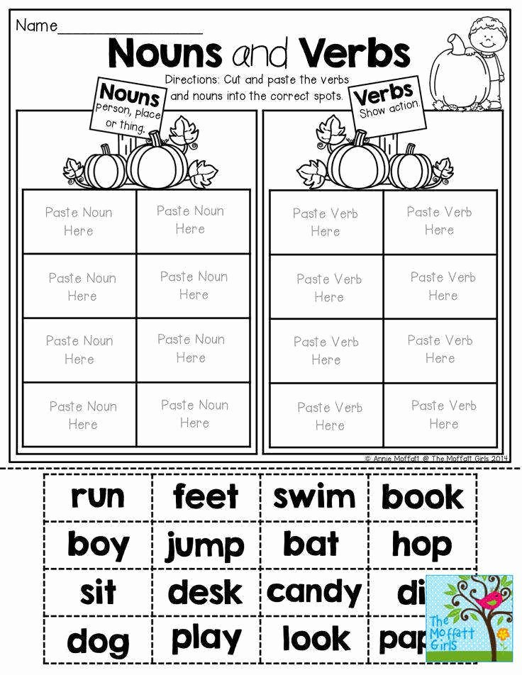 Nouns and Verbs Worksheet Unique Nouns and Verbs Worksheet