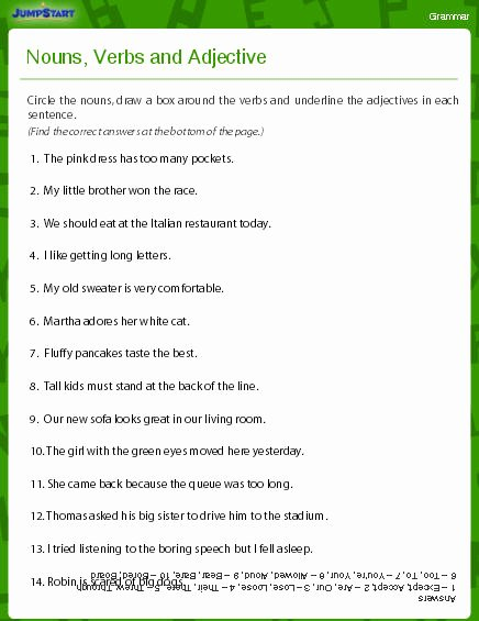 Nouns and Verbs Worksheet Unique Nouns Verbs and Adjectives Worksheet Download