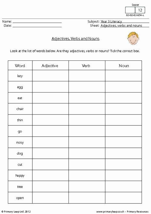 Nouns and Verbs Worksheet Unique Tenses Worksheet