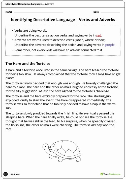 Nouns Verbs Adjectives Worksheet Best Of Identifying Descriptive Language Worksheets Nouns