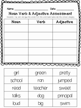 Nouns Verbs Adjectives Worksheet Inspirational Noun Verb Adjective assessment by Pencil Perfect