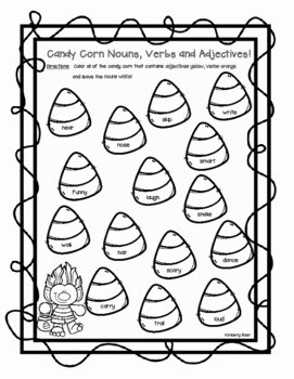 Nouns Verbs Adjectives Worksheet Unique Candy Corn Nouns Verbs and Adjectives Halloween Color