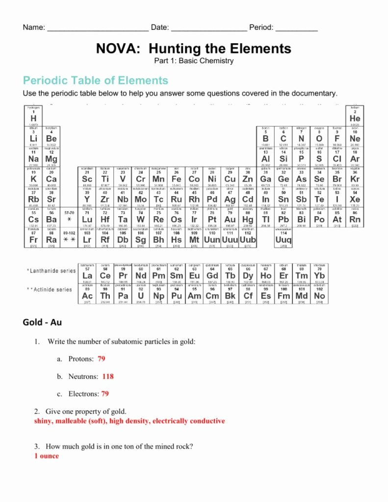 Nova Hunting the Elements Worksheet Beautiful Simple Nova Hunting the Elements which Exists In top 3