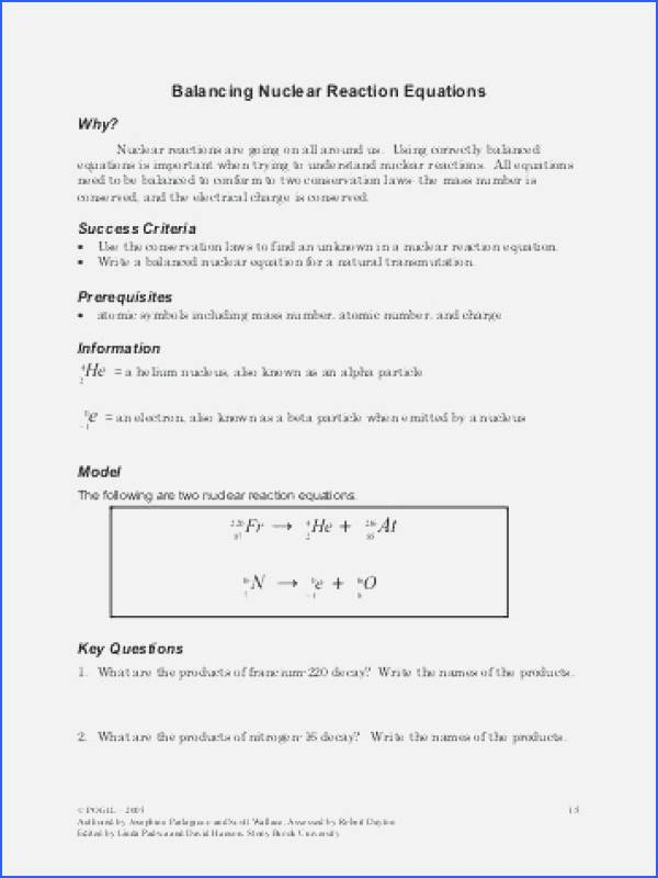 Nuclear Chemistry Worksheet Answer Key Elegant Nuclear Reaction Worksheet Answers