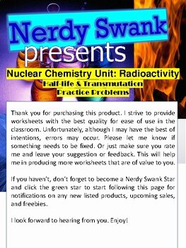 Nuclear Chemistry Worksheet Answer Key Inspirational Nuclear Chemistry Half Life & Transmutation 6 Practice