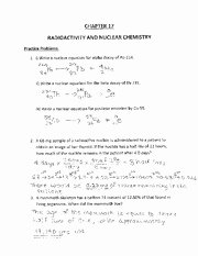 Nuclear Chemistry Worksheet Answer Key Inspirational Radioactivity and Nuclear Chemistry Worksheet Discussion